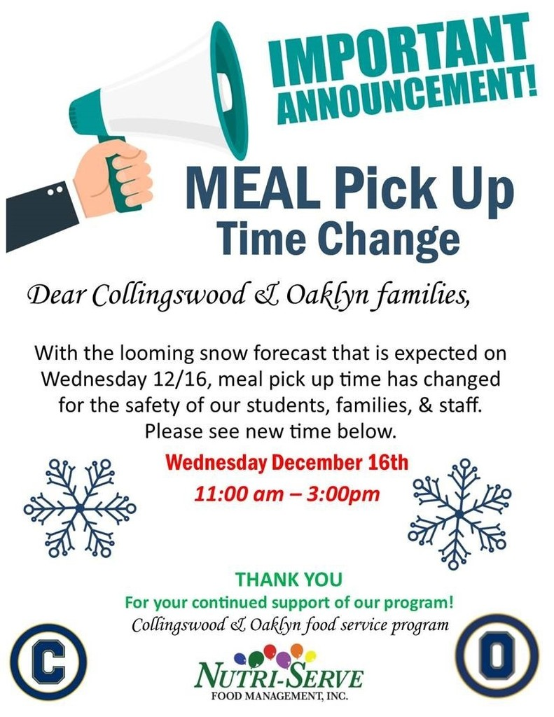 Meal Pick Up Time Change 11am-3pm